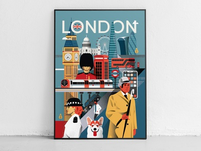 Illustrated - London poster city people illustrator flat 2d vector illustration illustrated poster poster city illustrated illustrated city united kingdom brexit london