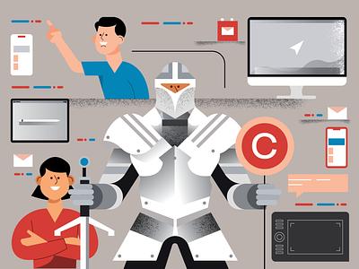 The Protector vectorart magazine editorial character people illustrator flat 2d vector illustration copyright