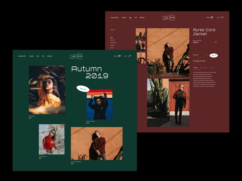 Look Book Desktop xd ui library app design fashion minimal ui