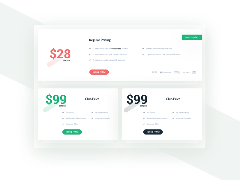 Pricing Concept material box user-interface ui pricing