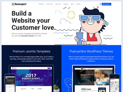 ThemeXpert New Homepage flat clean material website redesign ui