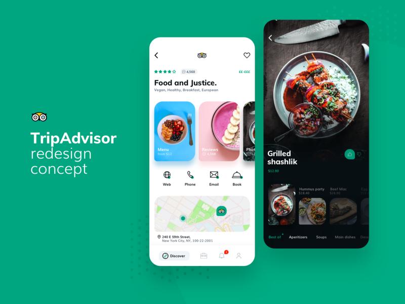 TripAdvisor - redesign concept adventure tour mobile app guide menu trip planner restaurant mobile app redesign trip food travel tripadvisor
