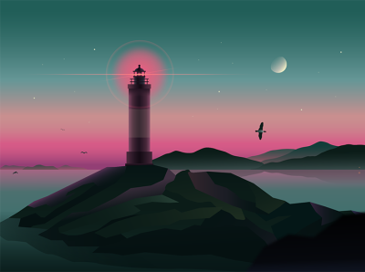 the sea lighthouse sunset landscape sea