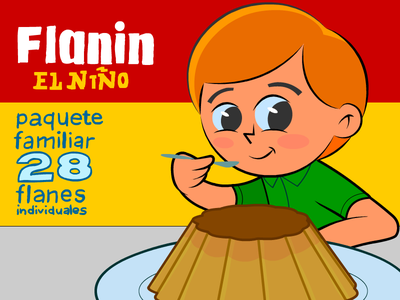 Flanin, el niño character cartoon dessert food kid flan creme caramel
