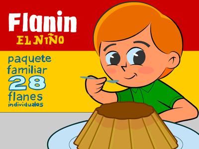 Flanin, el niño character cartoon dessert food kid flan creme caramel
