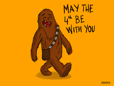 Walking Chewbacca character cartoon walking 2d illustration star wars chewbacca