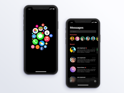 The Dark Project message icons mobile clean iphone watchos dark minimal ux ui app ios