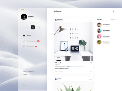 Instagram Desktop! ios app social minimal clean uxdesign ux ui mac desktop instagram