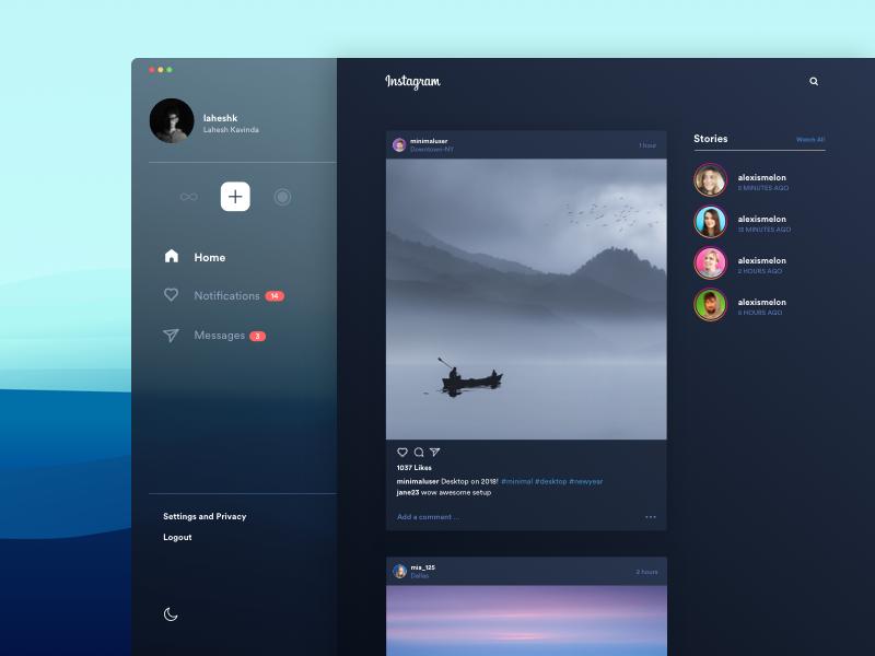 Instagram Desktop - Midnight! by Lahesh on Dribbble