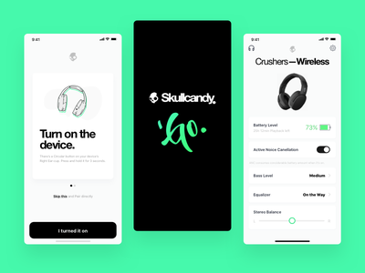 Skullcandy - GO modern illustration mobile minimal headphones wireless app ux ui player music