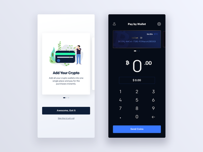 Blokker - Pay with Crypto payment typography block chain crypto currency crypto cards illustration dark ios app ux ui minimal