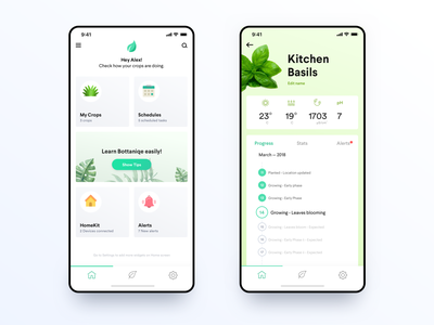 Bottanique - Hydroponic crops cards homekit virtual assistant bot smart home iot hydroponics app ios ux ui minimal
