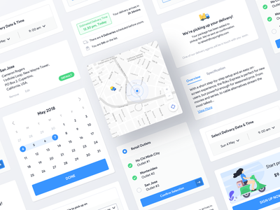 Delivery App Components delivery app components design systems light store ecommerce delivery web typography ios illustration cards dark clean app ux ui minimal
