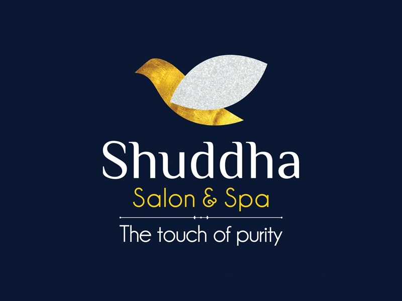 Shuddha Salon   Spa black wolf unisex royal blue logo design lotus petal pure cristals gold dove symbol of peace n purity spa salon shuddha