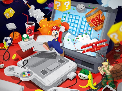 Childhood Memories 90s nintendo texture simple graphic game flat drawing design