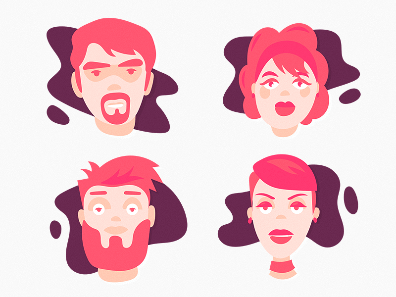 Characters Set II texture team simple quick illustration graphic flat drawing design characters