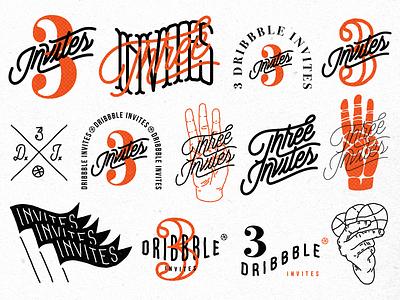 3 Dribbble Invites debut vintage logotype typography logo lettering illustration giveaway invite draft