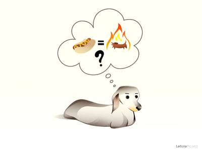 Hot -Dog Thoughts vector art cute dog bassotto dachshund dog hot dog hotdog