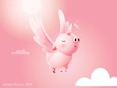 Unipig cute animal pink fantasy dream flying unicorn illustrator illustration pig vector art