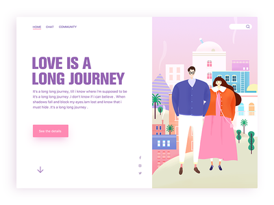 love Journey pink illstration web couples city love