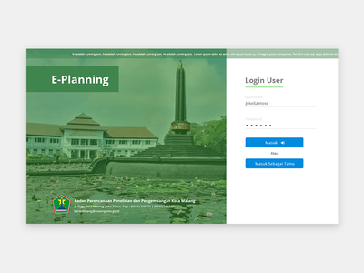 Login Page for E-Planning Site