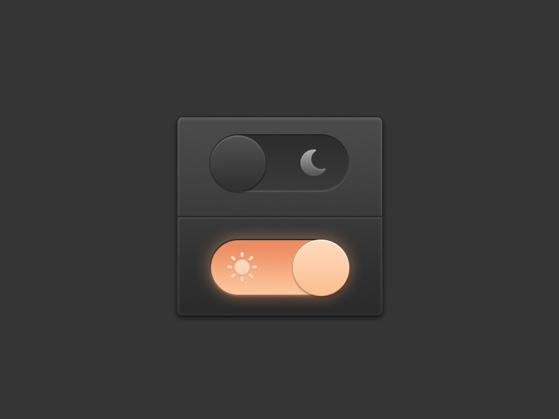 Skeuomorphism Switch of Day and Night icon off on switch moon sun night day interface ui skeuomorph skeuomorphism