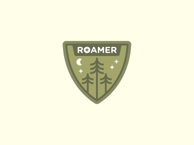 Roamer Badge flat explore camp scout patch emblem badge logo moon stars pine trees woods forest pine badge design vacation logo illustration vector icon