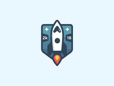 Space Rocket Logo Badge fly stars rocket launch icon badge logo space exploration space rocket