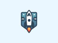Space Rocket Logo Badge
