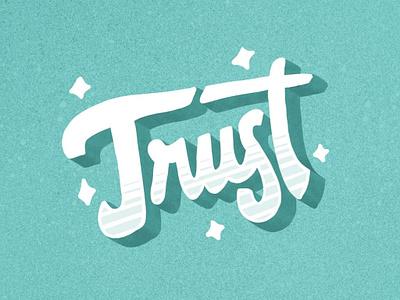 Trust Lettering branding logo star logotype brush procreate app procreate script lettering trust typography