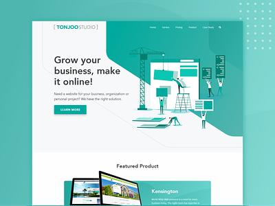 Company Landing Page business design app service uiux illustration web design ux studio developer wordpress landing page website branding logo ui icon