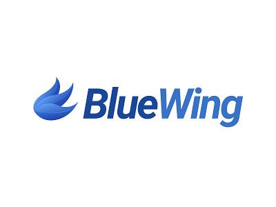 Blue Wing Logo bird gradient icon plane airways branding identity logo wing