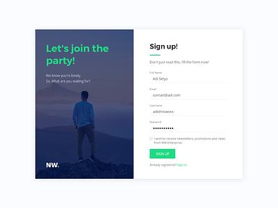 Sign Up Form vacation web design web design uiux app login exploration branding ui webdesign register form register signup
