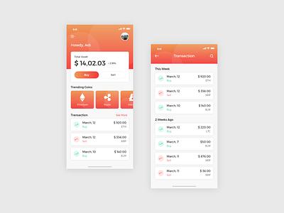 Crypto Currency App design icon ux money app coin uiux web design app finance bitcoin orange uidesign crypto ui