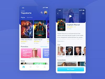 Movie Booking App app ui avengers x-men marvel captain marvel premiere play promo superhero web design uiux mobile cinema film movie app
