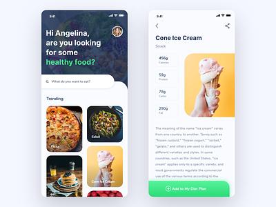 Food App Exploration diet app clean food and drink food app healthy diet food web design uiux ux app web design ui