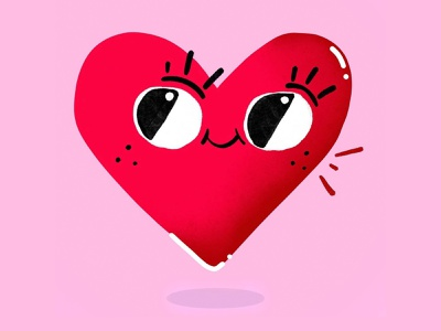 Happy heart love pink heart vector procreate design illustraion