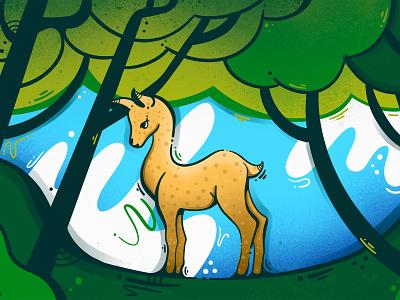 Deer in the forest graphic art art illustration art animal design procreate illustraion