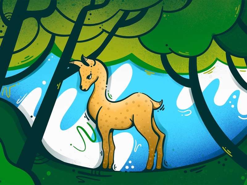 Deer in the forest graphic art art illustration art animal design procreate illustraion