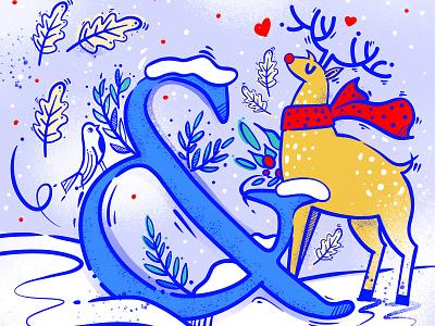 Christmas art graphic art happy tipografia animal procreate design illustraion