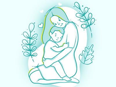 Hug colors hug child mother mothersday girl art graphic art procreate design illustraion