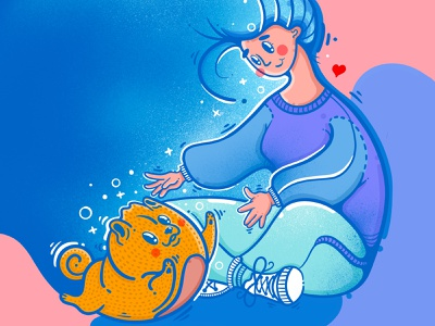 Welcome home hug child dog happy animal girl graphic art art procreate design illustraion