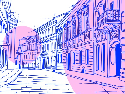 City and Countryside quick sketch illustration design procreate graphic art art illustraion