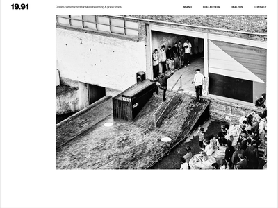 1991 denim - grid & layout black  white minimalistic e-commerce skateboarding fashion webdesign interface