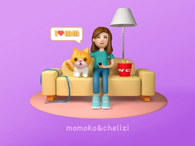 my friend with her cat person illustration c4d animation design cinema4d 3d