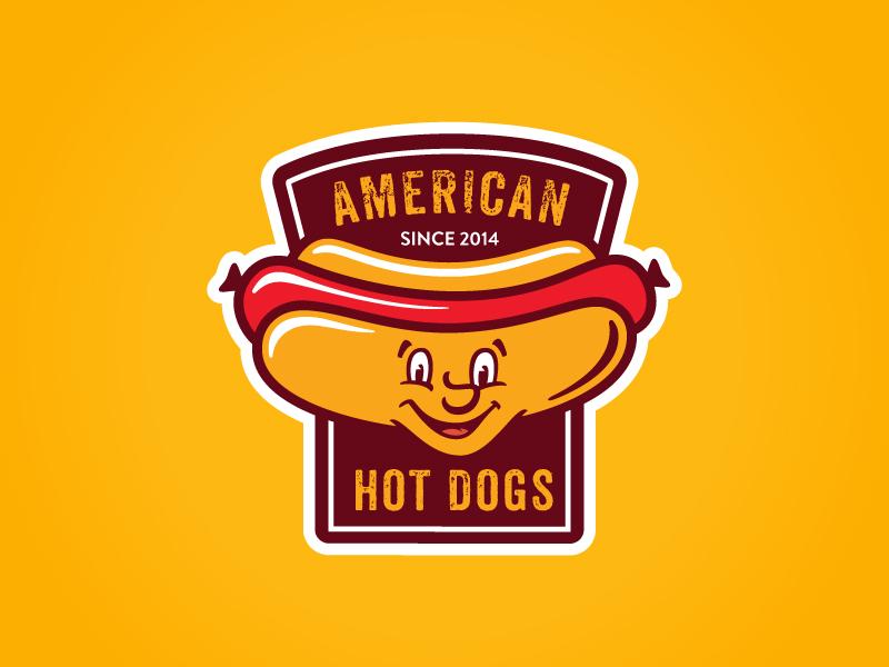 American Hot Dogs fast food junk sausage wiener weenie hot dog badge logo