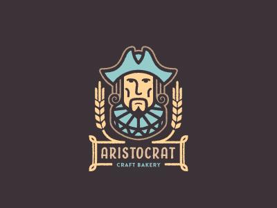 Aristocrat illustration historic wheat head face man noble craft identity restaurant bakery logo