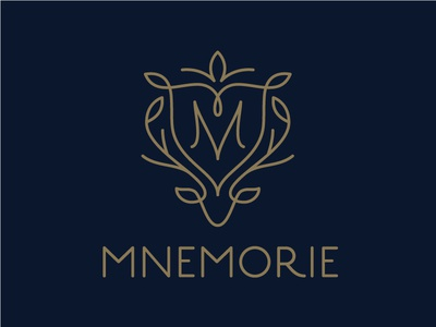 Mnemorie monogram leaf buck antler deer line modern logo heraldry shield crest apparel