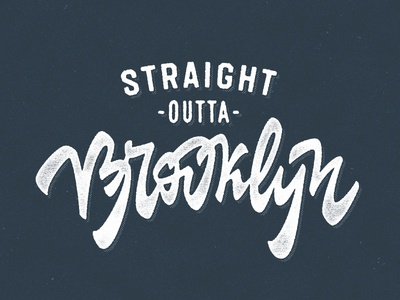 Straight Outta Brooklyn offset new york print worn stamp retro vintage texture lettering shirt