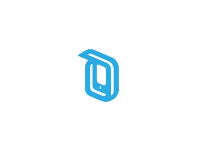 Device symbol simple letter d monogram minimal mark smartphone phone logo device gadget